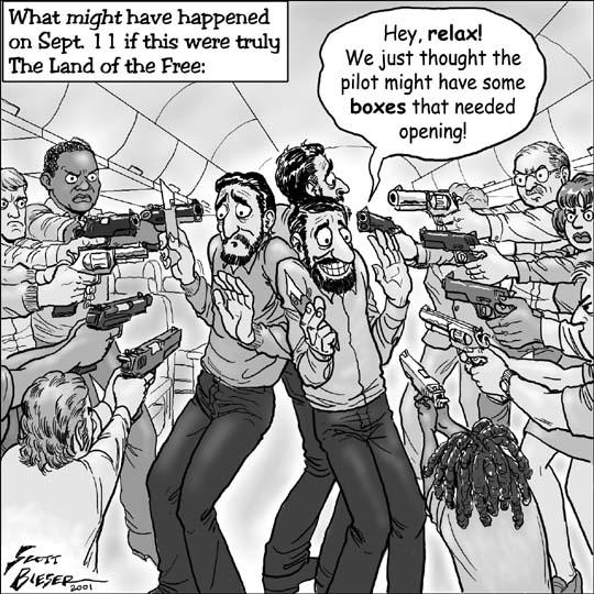 everyone on the plane pulls a gun on the terrorist